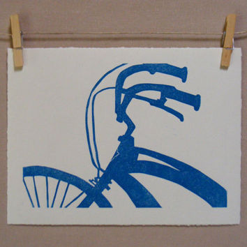 Blue Bike  Hand Printed Linocut  ORIGINAL by WoodenSpoonEditions