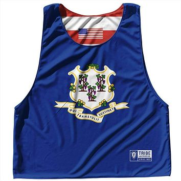 Connecticut State Flag and American Flag Reversible Lacrosse Pinnie