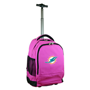 Miami Dolphins  Wheeled Premium Backpack-Pink