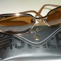 VINTAGE B&L RAY BAN W2643 SLEEK B15 COLOR CONTRAST RECTANGULARs SUNGLASSES NEW