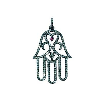 SP-9108-BR Sterling Silver Hamsa Enamel Pendant With Champagne Diamond and Black Rhodium Plated 40X20MM