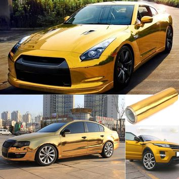 Gold Golden Chrome Mirror Vinyl Wrap Film Car Sticker Decal Bubble Free Air Release DIY Car Styling 10*150cm