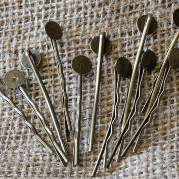 Antique Bronze Bobby Pins Clips Hair Slides with Glue Pad 10pcs Jewellery Findings Jewellery Making diyforstyle