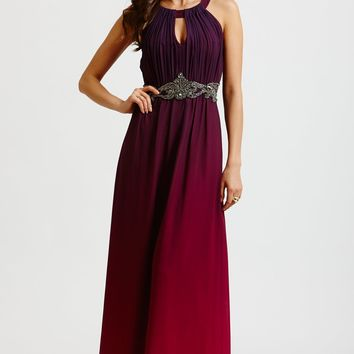 Little Mistress Two Tone Pink and Purple Embellished Maxi Dress