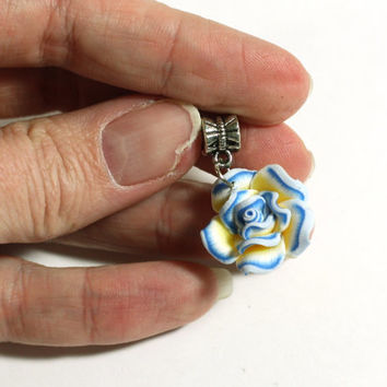 Blue, Yellow, and White Small Clay Rose Flower Pendant Bead on Bail - Jewelry Supplies - Jewelry Making