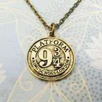 Train Platform Necklace, pendant, 9 3/4, inspired by Harry Potter