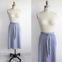 Vintage 70s Twill Blue Striped Wrap Skirt | Aline Apron Skirt