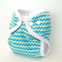 Zig zag Newborn cloth diaper cover with gussets and umbilical cord snap with wipeable inside