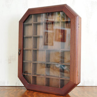 Vintage Wood Curio Cabinet, Wall Hanging with Glass Front, Shadow Box, Display Case