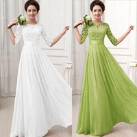 Women Lace Chiffon Half Sleeve Wedding Evening Party Long Dress S/M/L/XL/XXL/XXXL [7670645638]