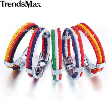"Trendsmax 2016 World Cup National Flags Sports 3 Strands Rope Braided Surfer Leather Mens Friendship Bracelets (8"" Long) LBW18"