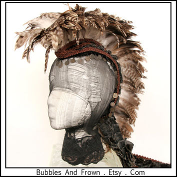 Earth Creature.... Feather Headdress with Fabric Train