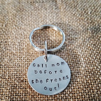 Call Mom Before She Freaks Out Hand Stamped Pet Tag, Pet Id Tags, Pet Talk Tags