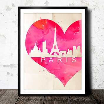 Paris France, Eiffel Tower - Art Print - Wall Art - skyline poster Paris France poster