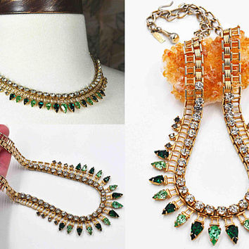 Vintage Volupte Gold, Green & Clear Rhinestone Necklace, Emerald, Peridot, Trellis, 1950's, Glam, Rare, Drop Dead Gorgeous! b902
