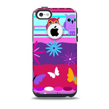 The Bright Pink Cartoon Owls with Flowers and Butterflies Skin for the iPhone 5c OtterBox Commuter Case
