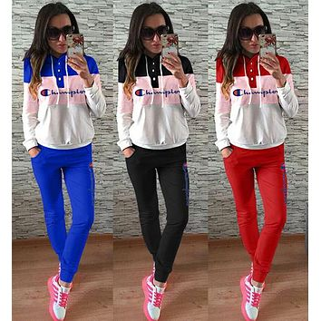Champion Fashion Women Leisure Sport Stitching Color Hooded Two Piece Set Sportswear