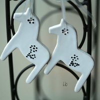 White Horses Ceramic Christmas Decoration Set of 2 Gift Pottery Ornament Dala Horse Inspired