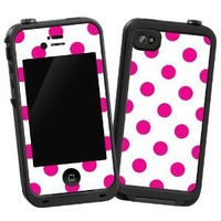 "Hot Pink Polka Dot on White ""Protective Decal Skin"" for LifeProof iPhone 4/4s Case"