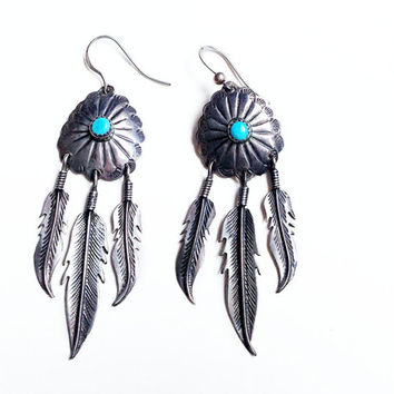 Blue Turquoise Vintage Native American Blossom Dreamcatcher Feather Earrings // blossom Zuni silver earrings w/ blue turquoise and feathers