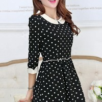 Peter Pan Collar Polka Dot Dress - OASAP.com