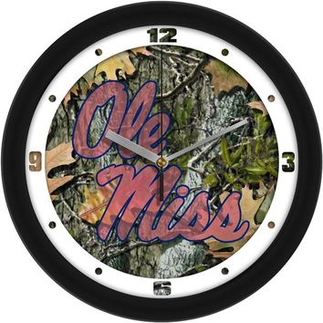 Mississippi Rebels - Ole Miss Camo Wall Clock