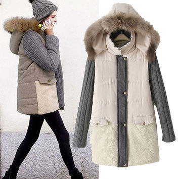 Hats Cotton Winter Patchwork With Pocket Padded Jacket [11688099343]