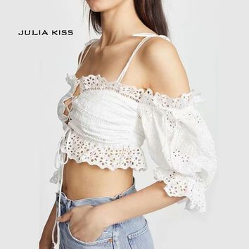 Women Off the Shoulder Frill Lace Up Embroidery Blouse With Puff Sleeve Eyelet Embroidery Scalloped Ruffle Crop Top