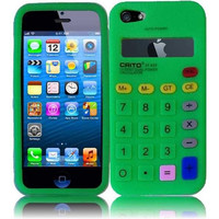 Apple Iphone 5 5S Calculator Silicone Skin Cover Case - Neon Green