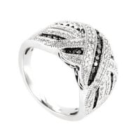 925 Sterling Silver Exquisite White Sapphire Crystal Black Topaz Cross Bow Ring Wedding Engagement Jewelry Ring Gifts Size 6-9