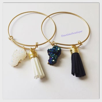 Bangle Gemstone Bracelet With Tassel - Blue or White
