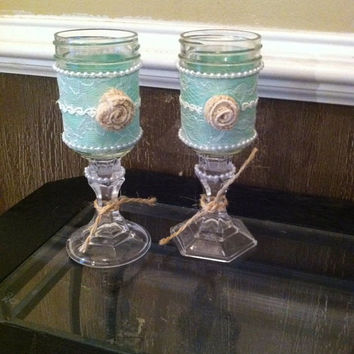 Shabby Chic Glasses or Candle Holders, Rustic Wine Glasses,Mason Jar Glasses,RedneckWineGlass,Rustic Wedding Decor, ShabbyChic Wedding Decor