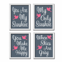 Navy Pink Bird - You Are My Sunshine Set of 4 Wall Art Decor Prints Poster Nursery Child Kid Room Baby Choose Your Quote