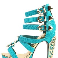 Privileged Victory Teal Strappy Snake Heels | MakeMeChic.com