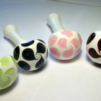 Glass Pipe, Custom, Design your own Pipe, White Pipe with Custom Color Dots, Cgge Team