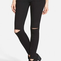 Junior Women's SP Black Ripped Knee Skinny Jeans ,
