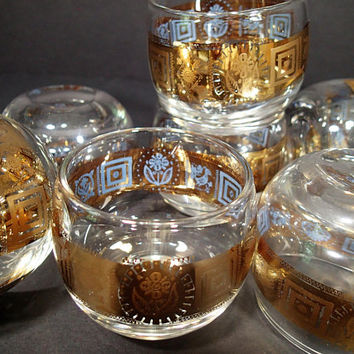 Georges Briard Roly Poly Mid Century barware, small roly poly embossed gold design, Mad Men, Hollywood Regency