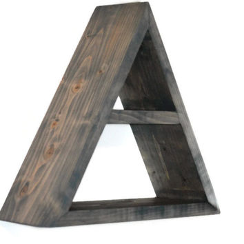 Geometric Shelf Shadow Box Wood Shelf Abstract Triangle Design Handmade Wooden Modern Minimalist Rustic Primitive Wall Decor Hand Crafted