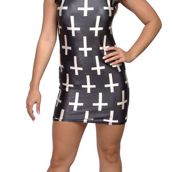 Black and White Crosses Sleeveless Mini Dress Size Medium