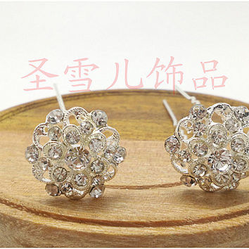 1pcs  Rhinestone Hairpin Brides Cute Flower wedding Hair Pins Clip Crystal Hair Combs Vintage Hair Jewelry  Accessories H-387