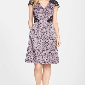 Adrianna Papell - Lace Cap Sleeve Dress  15238790