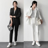 LUO SHA 2018 Fashion 2 Piece Sets Pant Suits Double Breasted Stripe Blazer Jacket & Straight Pant Office Lady Suit Women Outfits