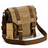 ZLYC Vintage Mens Leather and Canvas Messenger Shoulder Bag Bookbag Fits iPad Air, Khaki