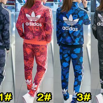 Adidas New fashion leisure sports suit for women top and pants stripe suit