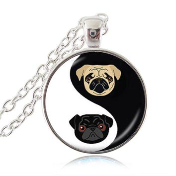 Yin Yang Pug Necklace Black and Tan Bulldog Pendant Dog Jewelry Gifts For Pug Lovers Rescue Jewellery, Glass Dome HZ1