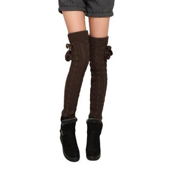 Women's Cable Knit Leg Warmers Long Stockings 1 Pair 6 Solid Colors Female Slim Sexy Long Cotton Stockings For Girls Ladies
