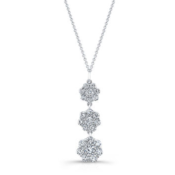 "Women's Platinum diamond necklace pendant 2.10 ctw G color VS2 clarity diamonds with 16"" Platinum necklace"