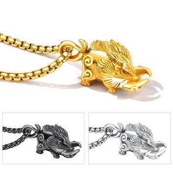 Heavy Metal Wild Boar Pendant Necklace Men Jewelry Stainless Steel Chain Punk Style Animal Shape Necklaces Mens Jewellery Gifts