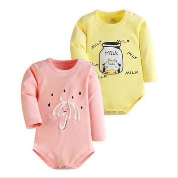 2pcs/lot 2017 Winter Baby Rompers Newborn Infant Cotton Long Sleeve Jumpsuits Baby Boys Girl Clothing Cartoon Clothes Wear