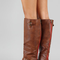Stella-1 Ruched Buckle Riding Knee High Boot